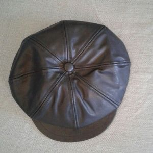 Black Faux Leather Newsboy Cap Hat Cabby
